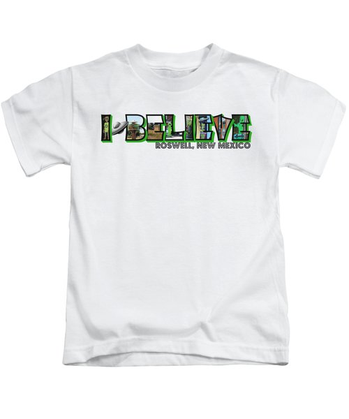I Believe Roswell New Mexico Big Letter Kids T-Shirt