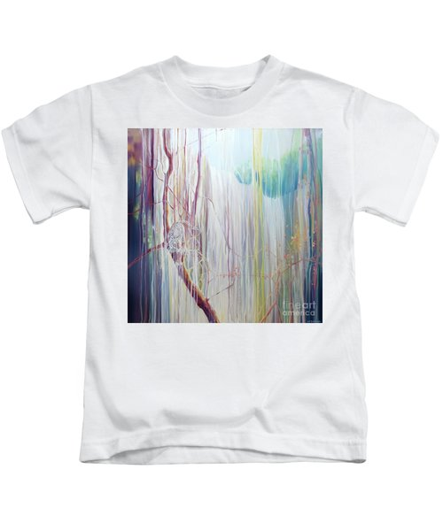 Ice Tiger - A Large Oil On Canvas By Gill Bustamante Of A Tiger By A Waterfall Kids T-Shirt
