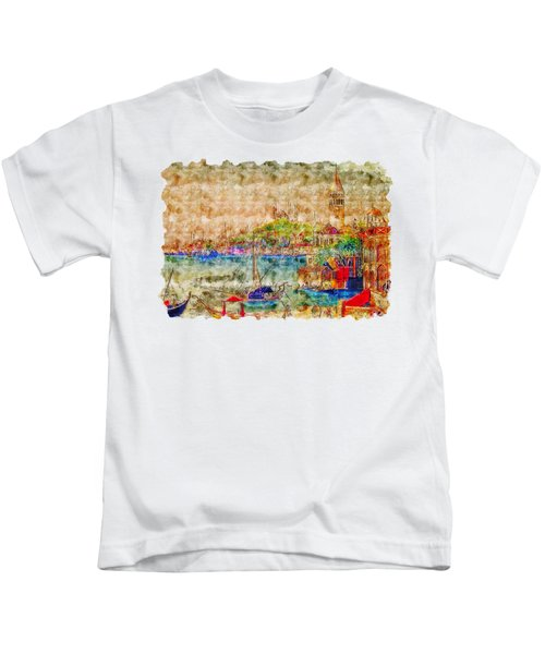 Impressionist Watercolor Drawing - Istanbul Kids T-Shirt