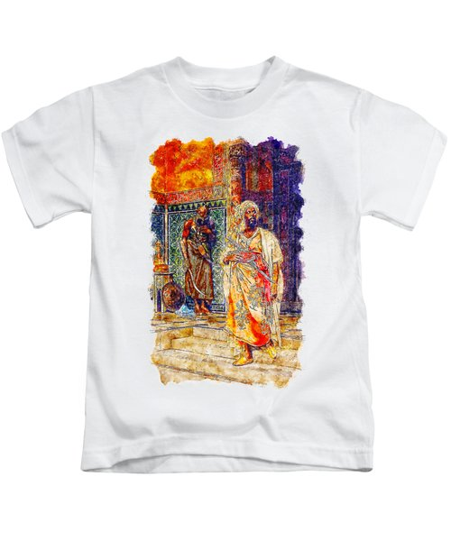Impressionist Watercolor Drawing - Palace Door Guard Kids T-Shirt