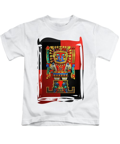 Incan Gods - The Great Creator Viracocha On Red And Black Canvas Kids T-Shirt