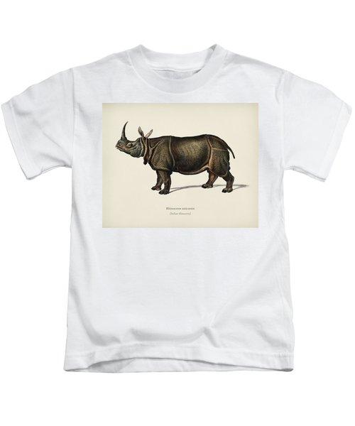 Indian Rhinoceros  Rhinoceros Unicornis Illustrated By Charles Dessalines D' Orbigny  1806-1876  Kids T-Shirt