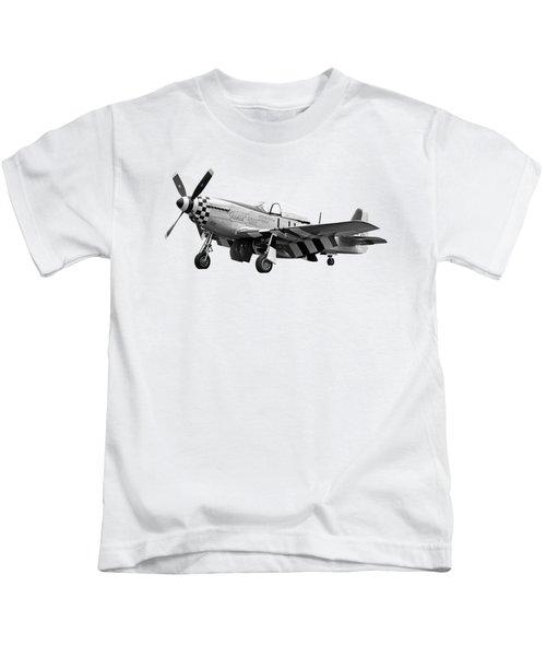 Janie P-51 In Black And White Kids T-Shirt