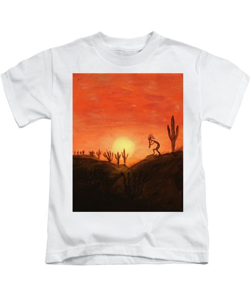Kokopelli's Sunset Song Kids T-Shirt