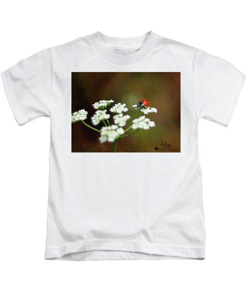Ladybug In White Kids T-Shirt