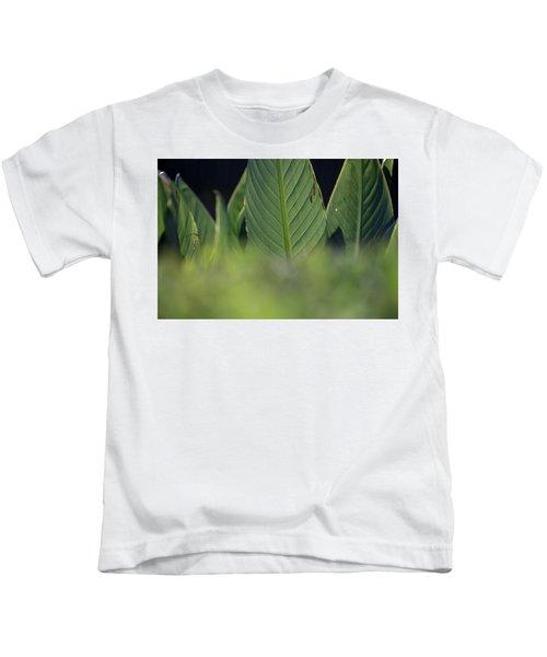 Large Dark Green Leaves Kids T-Shirt