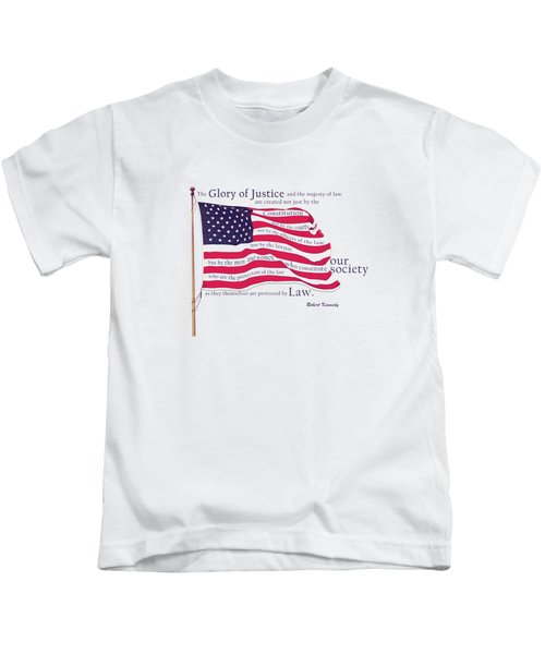 Law And Society American Flag With Robert Kennedy Quote Kids T-Shirt