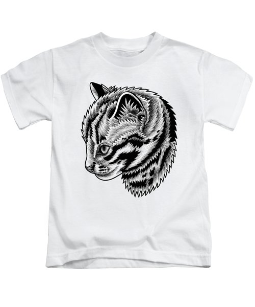 Leopard Cat Kitten - Ink Illustration Kids T-Shirt