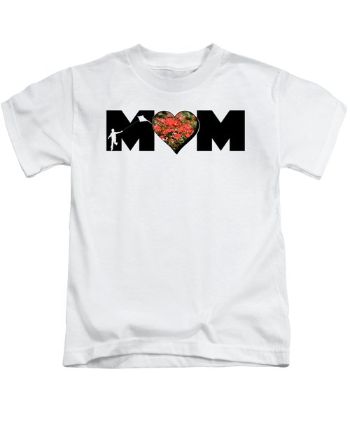 Little Boy Silhouette In Mom Big Letter With Cluster Of Red Roses In Heart Kids T-Shirt