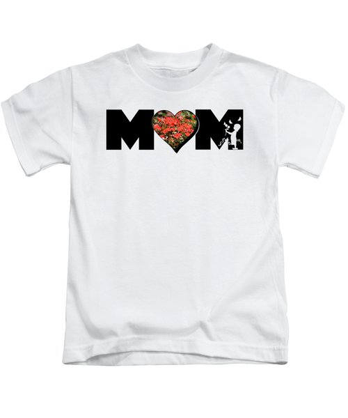 Little Girl Silhouette In Mom Big Letter With Cluster Of Red Roses In Heart Kids T-Shirt