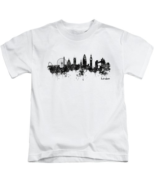 London Black And White Watercolor Skyline Silhouette Kids T-Shirt