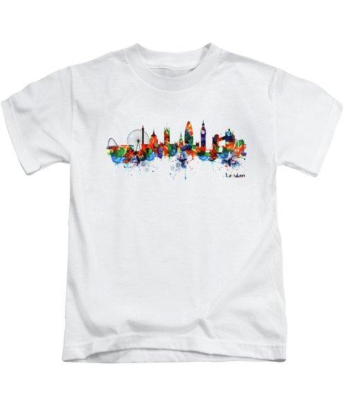 London Watercolor Skyline Silhouette Kids T-Shirt