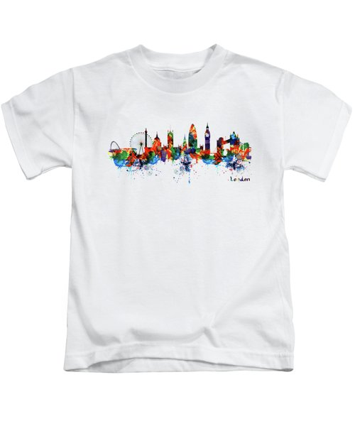 London Watercolor Skyline Silhouette Kids T-Shirt
