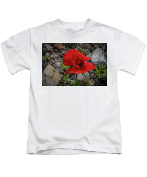 Lone Red Flower Kids T-Shirt