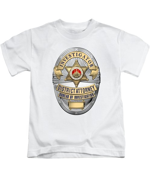 Los Angeles County District Attorney - Investigator Badge Over White Leather Kids T-Shirt