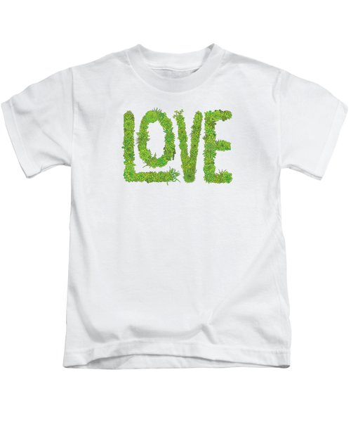 Love Succulent White Background Kids T-Shirt