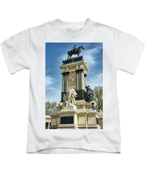 Monument To King Alfonso Xii At Retiro Park In Madrid, Spain Kids T-Shirt