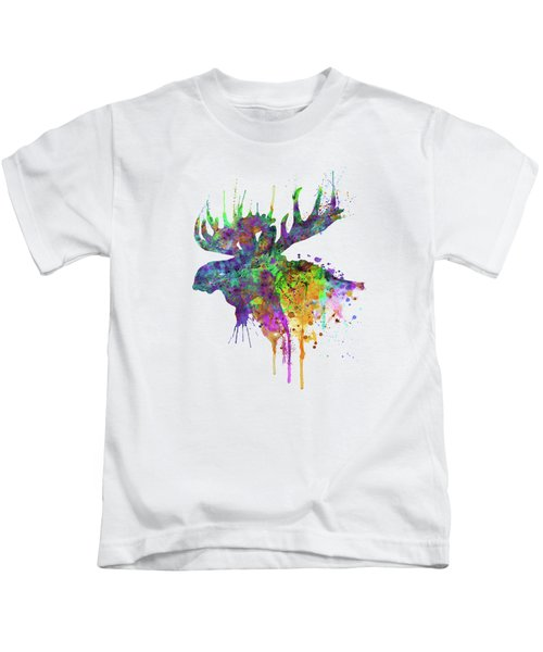 Moose Head Watercolor Silhouette Kids T-Shirt
