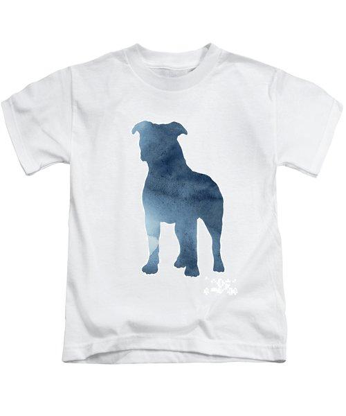 Navy Blue Pitbull Silhouette Standing Facing Left  Kids T-Shirt