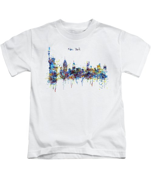 New York Watercolor Skyline Kids T-Shirt