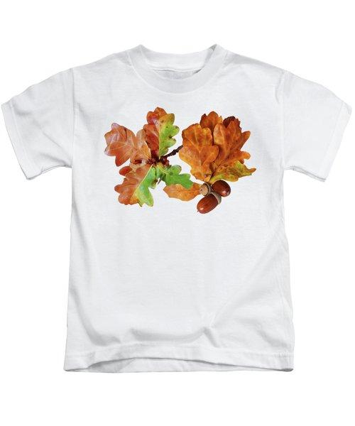 Oak Leaves And Acorns On White Kids T-Shirt