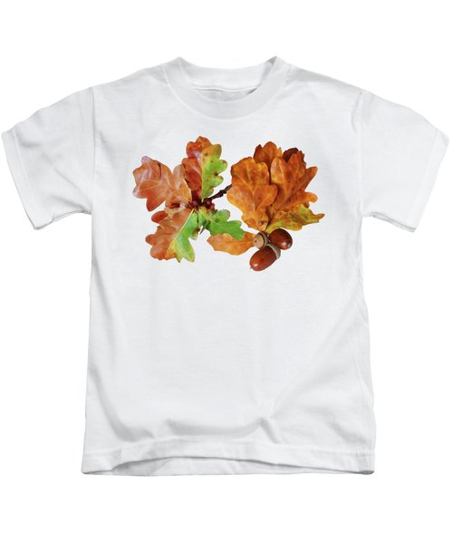 Oak Leaves And Acorns On White Kids T-Shirt