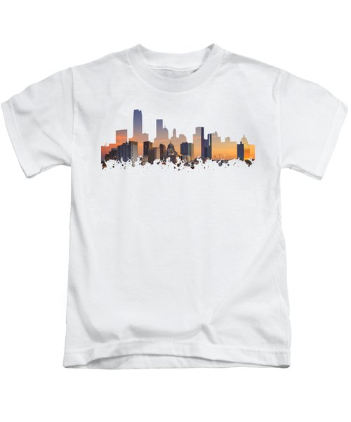 Okc Skyline Sunset Silhouette Kids T-Shirt