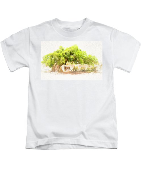 Old Leaning Tree At Sandy Hill  Anguilla Kids T-Shirt