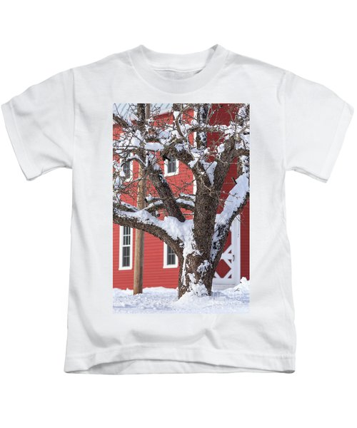 Old Apple Tree Red Barn Winter In New Hampshire Kids T-Shirt
