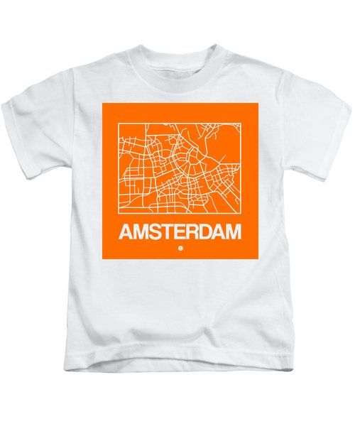 Orange Map Of Amsterdam Kids T-Shirt