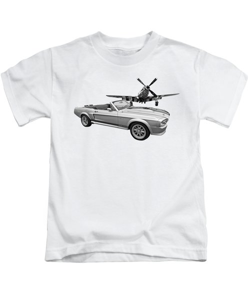 P51 Meets Eleanor In Black And White Kids T-Shirt