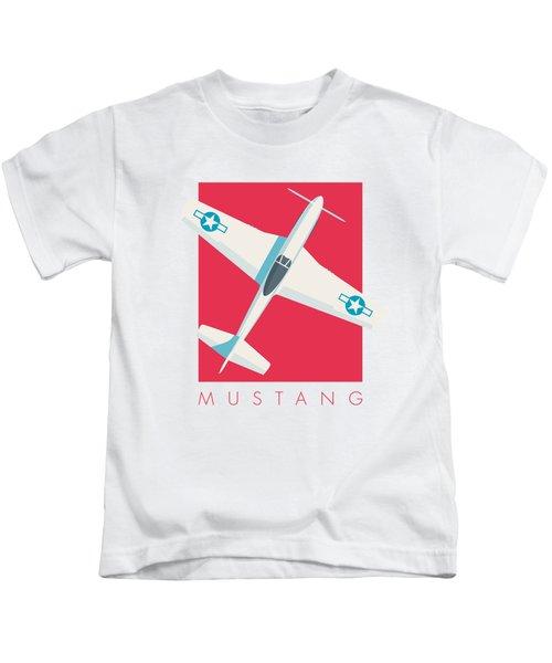P51 Mustang Fighter Aircraft - Crimson Kids T-Shirt