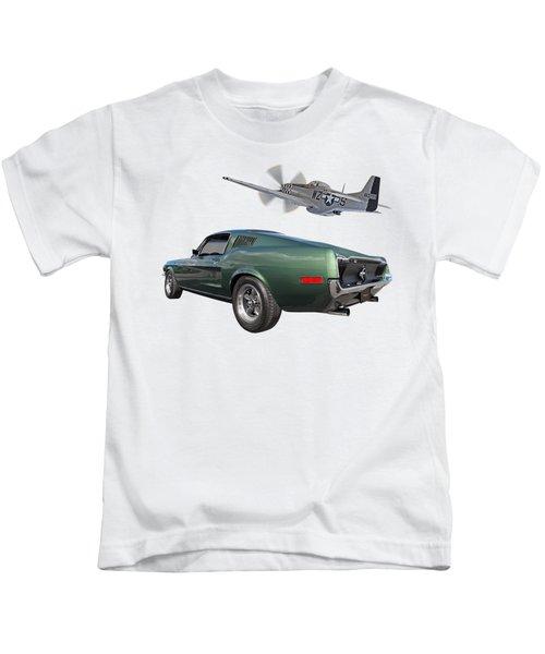 P51 With Bullitt Mustang Kids T-Shirt