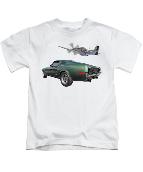 P51 With Bullitt Mustang Kids T-Shirt