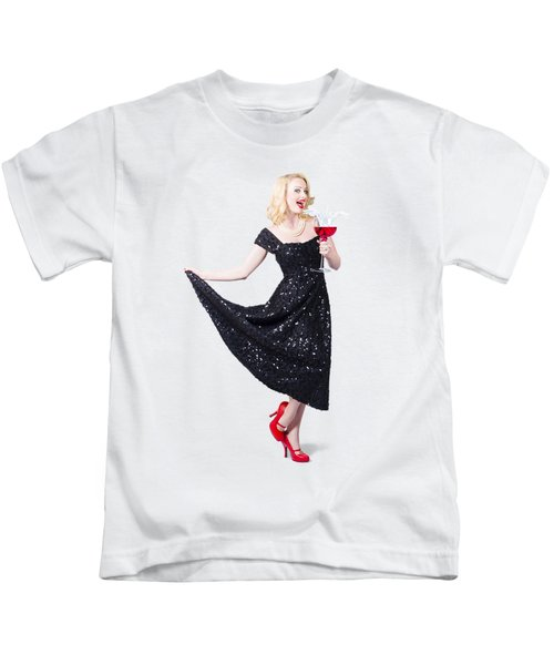 Party Woman In A Black Sequin Dress Kids T-Shirt