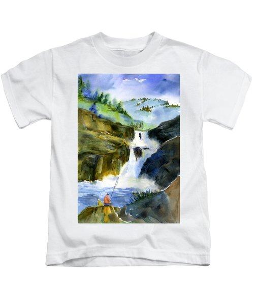 Petroglyph Falls Fishing Kids T-Shirt
