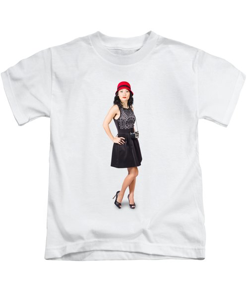 Pin Up Lady With Retro Film Camera Kids T-Shirt