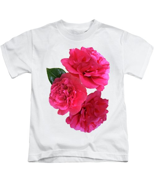 Pink Camellias On White Vertical Kids T-Shirt