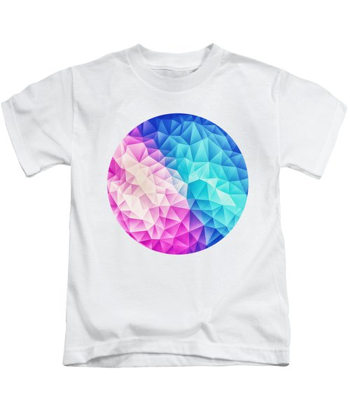 Pink Ice Blue  Abstract Polygon Crystal Cubism Low Poly Triangle Design Kids T-Shirt