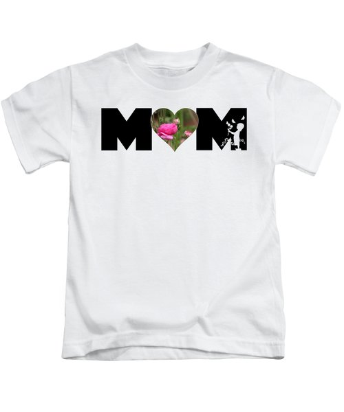 Pink Ranunculus In Heart Mom Big Letter-girls Kids T-Shirt
