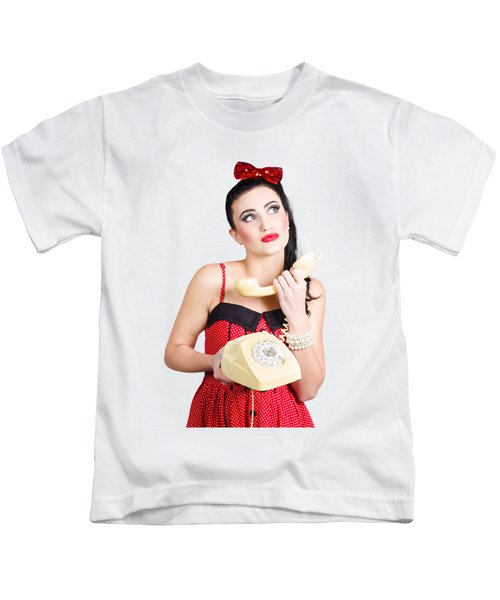Pinup Woman Chatting On Yellow Telephone Kids T-Shirt