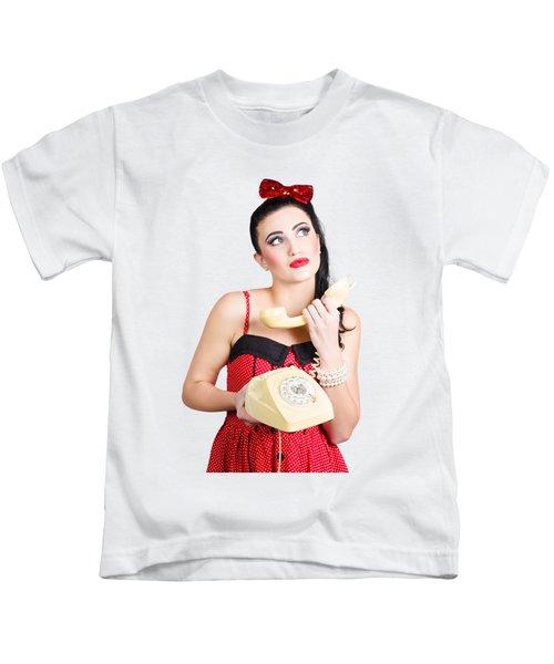 Pinup Woman Chatting On Yellow Telephone Kids T-Shirt
