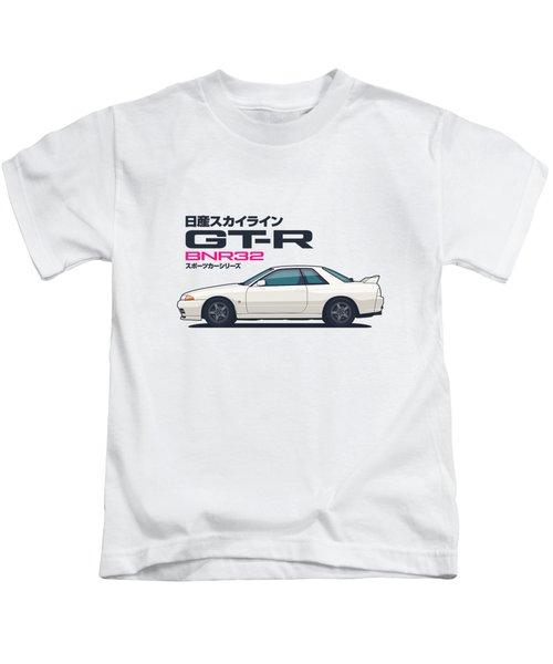 R32 Gt-r - Landscape White Kids T-Shirt