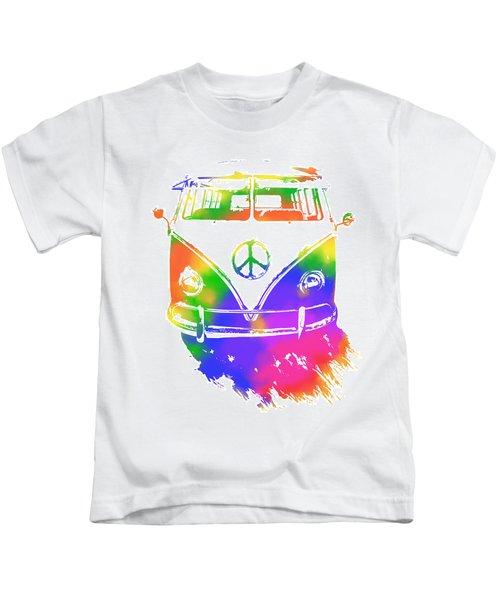 Rainbow Colored Peace Bus Kids T-Shirt