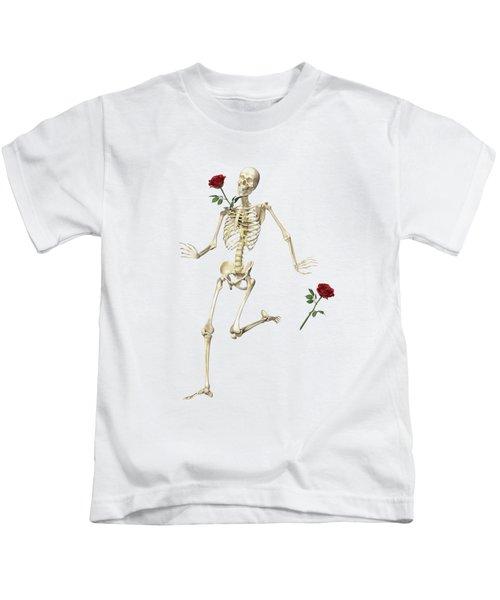 Rambling Rose Running Skeleton Kids T-Shirt