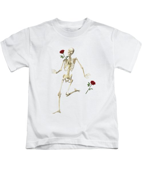 Rambling Rose Running Skeleton Kids T-Shirt
