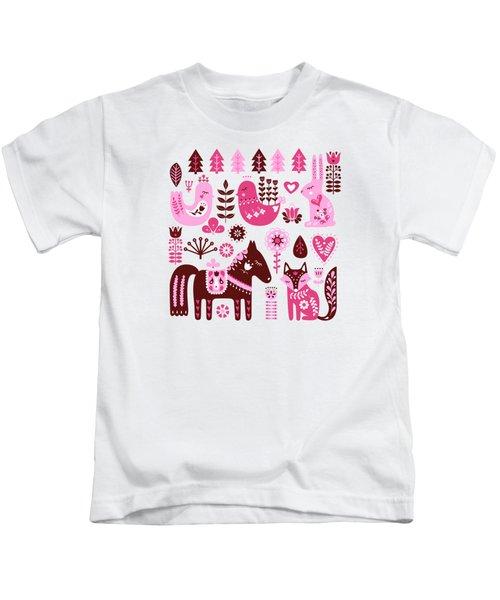 Raspberry And Cream Scandinavian Folk Art Forest Friends Kids T-Shirt