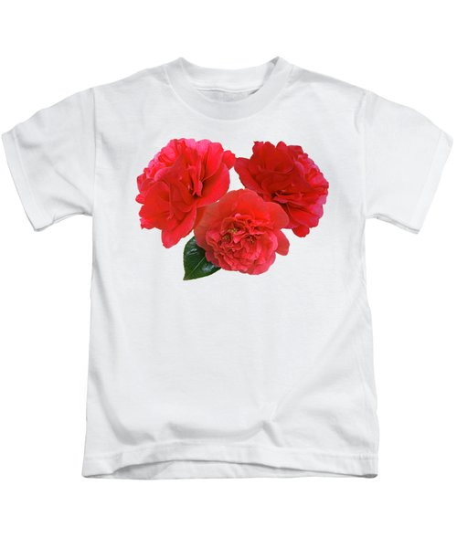 Red Camellias On White Kids T-Shirt