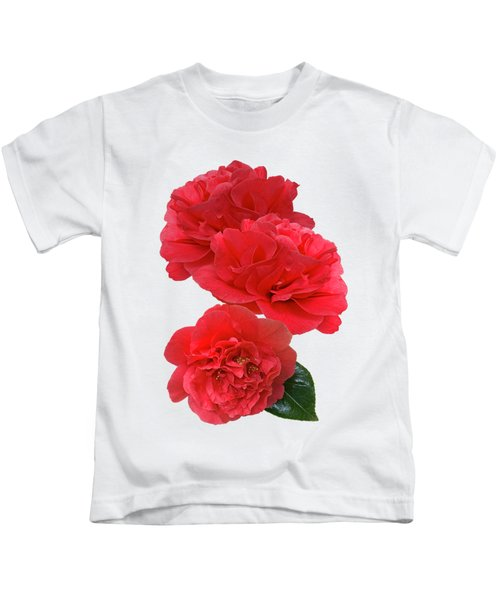 Red Camellias On White Vertical Kids T-Shirt