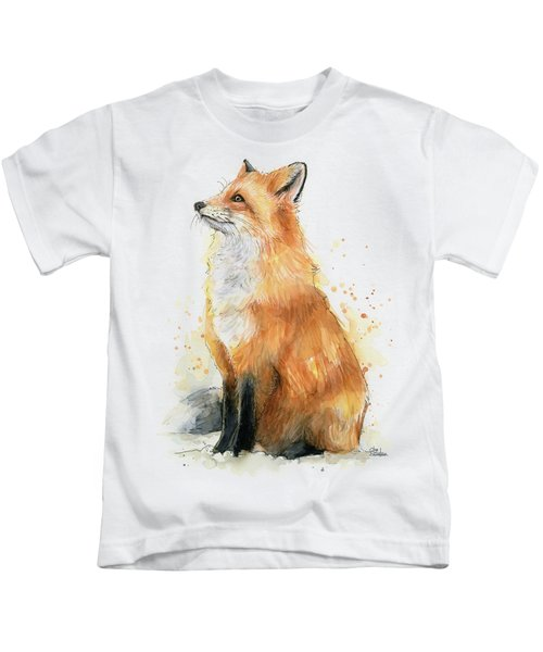 Red Fox Watercolor Pattern Kids T-Shirt